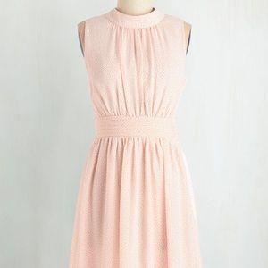 Peachy Pink Polka Dot Dress